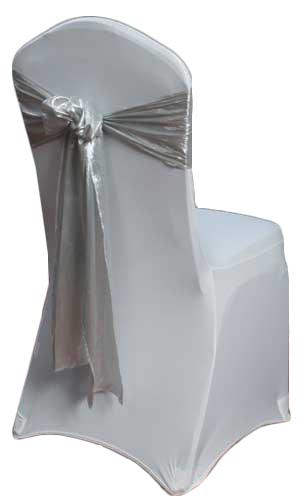Silver Lamé Chair Sash Rental