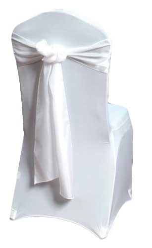 White Organza Satin Chair Sash Rental