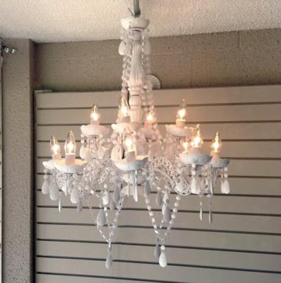 White Chandelier Rental - 8 Lights