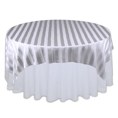 Silver Sheer Stripe Table Overlays Rental