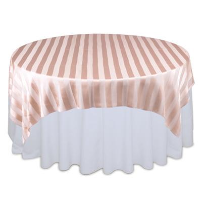 Peach Sheer Stripe Table Overlays Rental