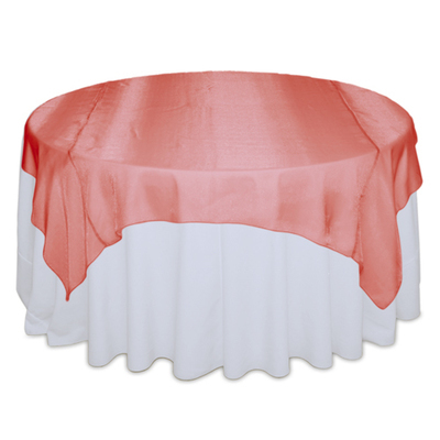 Coral Sheer Table Overlay Rental