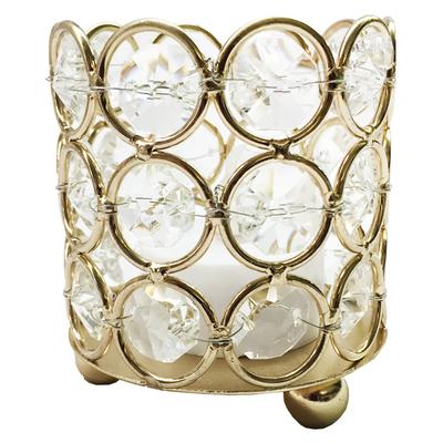Small Gold Crystal Gem Pillar Candle Holder Rental