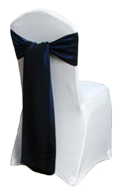 Blue Velvet Taffeta Chair Sashes Rental