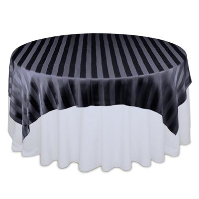 Black Eternity Sheer Stripe Table Overlays
