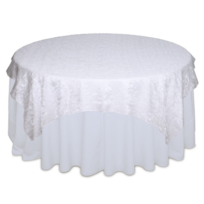 White Organza Swirl Table Overlay Rental