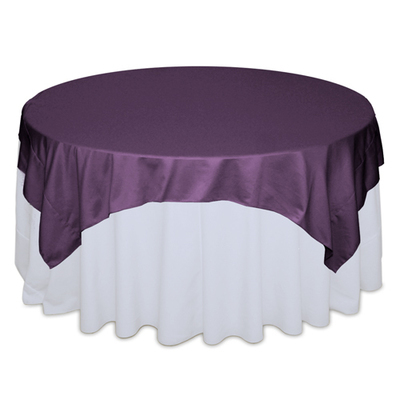 Wisteria Plum Matte Satin Table Overlay Rental