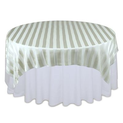 Sage Green Eternity Sheer Stripe Table Overlays Rental