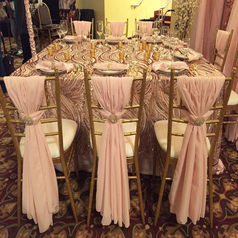 Dusty Rose Chiffon Chair Swags