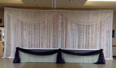 DIY Sheer Lighted Wedding Backdrop Rental - Per 12' Section