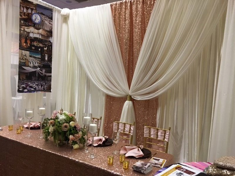 Ivory Sheer with Blush Rose Gold Taffeta Sequin Accent Wedding Backdrop - 12' - Setup and Tear Down Included