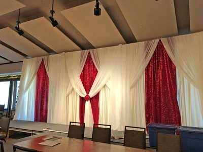 Apple Red Taffeta Glitz Wedding Backdrop