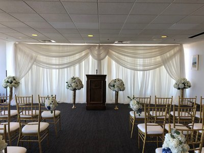 Sheer Voile Wedding Backdrop with Circle Swag