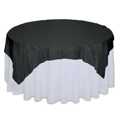 Black Organza Satin Table Overlay Rental