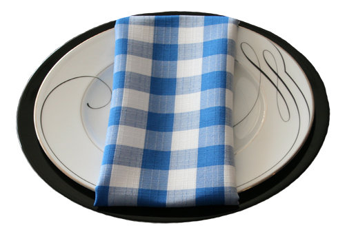 Blue Linen Check Napkin Rental