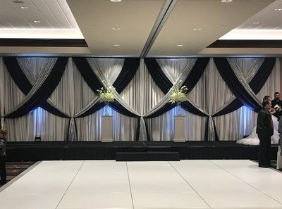 Navy Satin Accented with Silver Glitz on White Sateen Wedding Backdrop