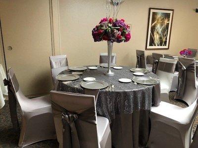 Grey Leaf Sequin Table Overlay