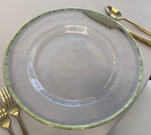 Gold Rim Glass Charger Plate Rentals
