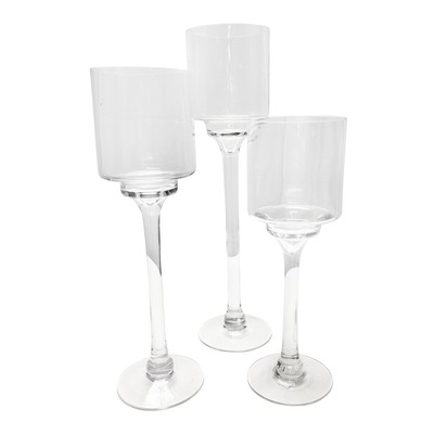 Glass Pedestal Candleholder Rentals, Set of 3