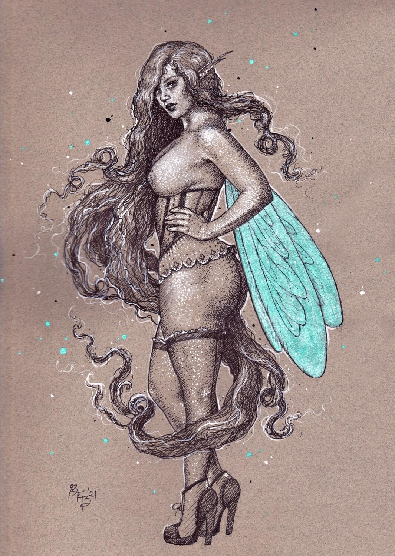 Absinthe Faery III (ink) by Brynn Elizabeth