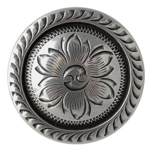 Antique Silver Edge Floral Concho