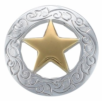 """Engraved Ranger Star Concho Silver/Gold Plate 3/4"""""""