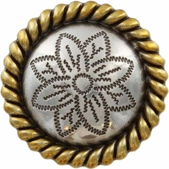 Antique Silver and Brass Rope Edge Flower Engraved Concho
