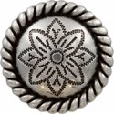 Antique Silver Rope Edge Flower Engraved Concho
