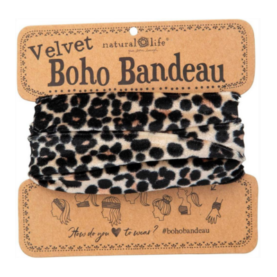 Black Leopard Velvet Boho Bandeau