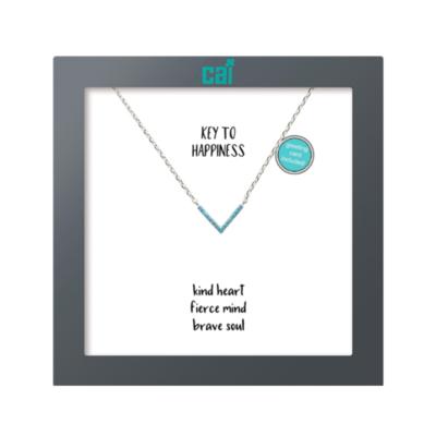 Silver Gem Triangle Necklace