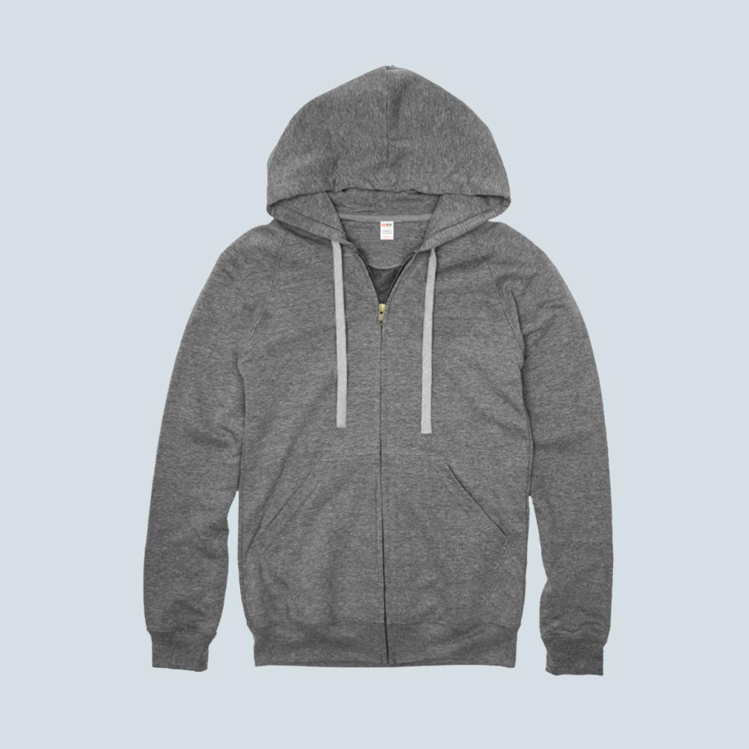 Heather Grey Premium Full Zip Hoodie