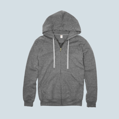 Heather Grey Premium Full Zip Hoodie
