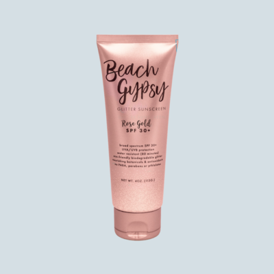 Beach Gypsy Rose Gold SPF 30+ Biodegradable Glitter Sunscreen