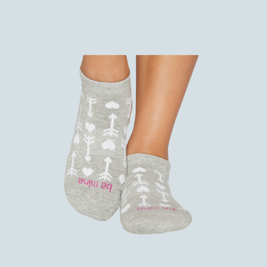 'Be Mine' Rosette Marbled Grip Socks