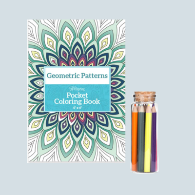 Geometric Patterns Pocket Coloring Book & Colored Pencils