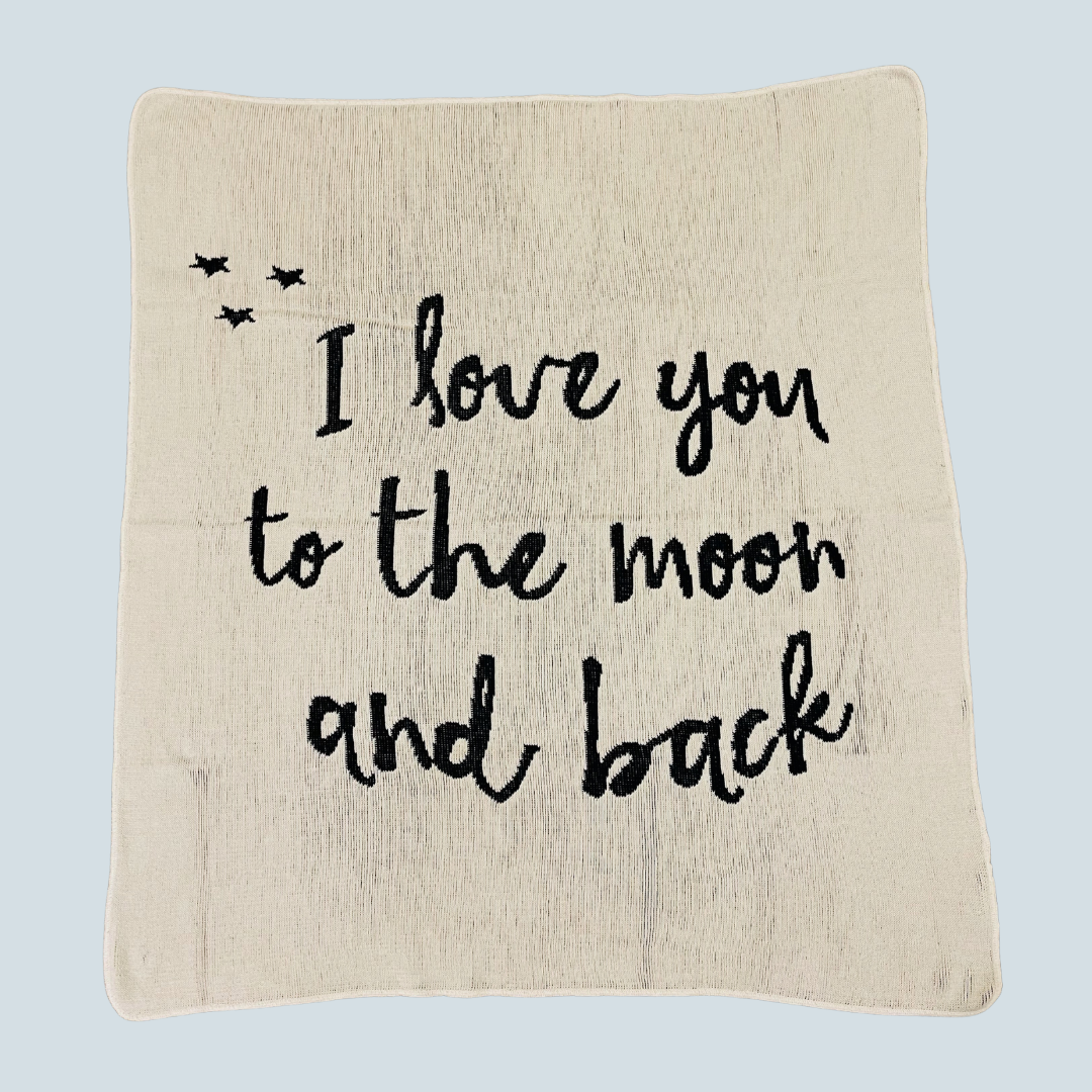 Organic Cotton Blanket - I love you to the moon and back