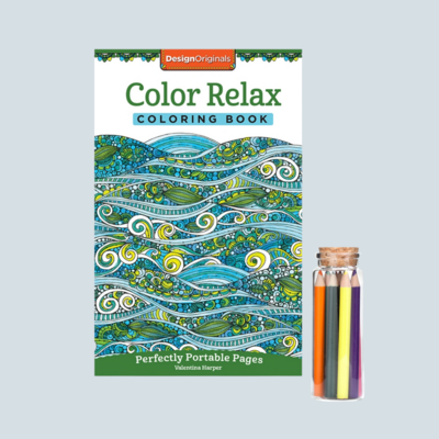 Color Relax Coloring Book & Colored Pencils