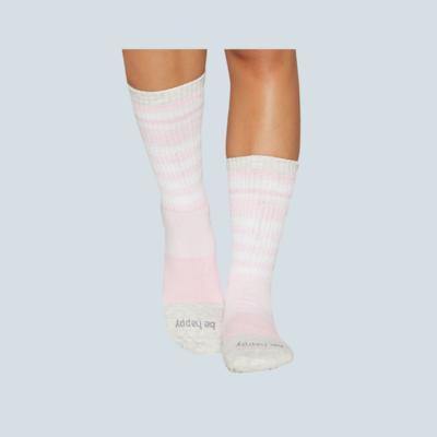 'Be Happy' Grip Crew Socks