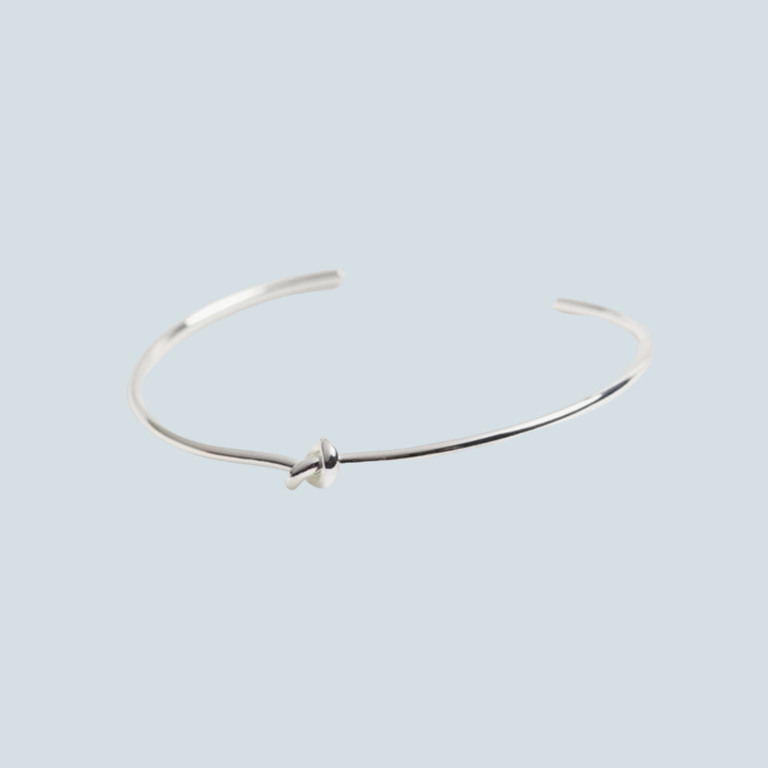 Silver Plated Thin Knot Bangle