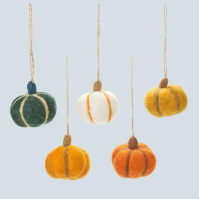 5 Handmade Felt Hanging Halloween Pumpkins