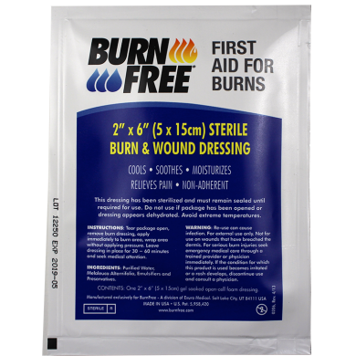 BurnFree ผลิตภัณฑ์ปราศจากเชื้อและอุปกรณ์ทำความสะอาดแผลไหม้ BurnFree Sterile Burn and Wound Dressing