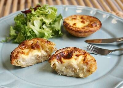 Bacalhau c/Natas Pasteis - Salted Cod Fish Quixe Pies (1 Dozen - 24 pcs) (Ships Separately - Ships Next Day)