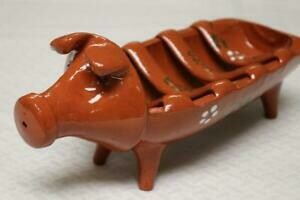 Portuguese Traditional Pig Shaped Sausage Roaster in Glazed Terracotta Clay  (Free Shipping on this Item)