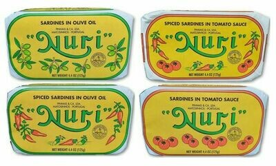 Nuri Portuguese Sardines (4.3 oz) 4 Pack Assorted (Free Shipping on Entire site)