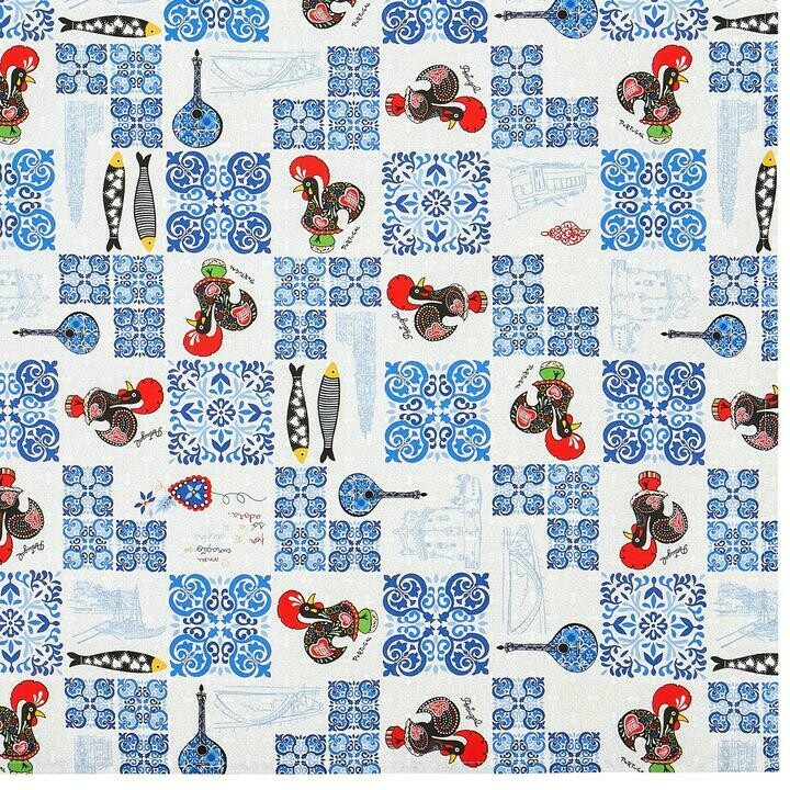 Barcelos Rooster Ajulejos Tablecloth (Ships Separate/Box)