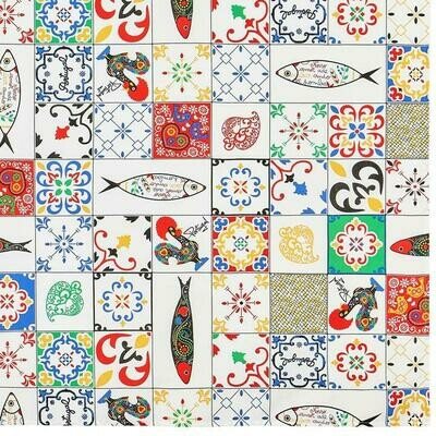 Best of Portugal Colorful Azulejos Tablecloth (Ships Separate/Box)