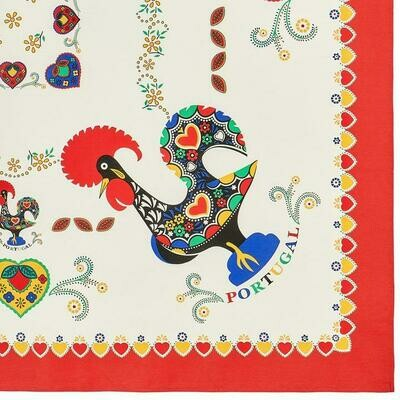 Barcelos Rooster _ Colorful Border Table Cloth Red (Ships Separate/Box)