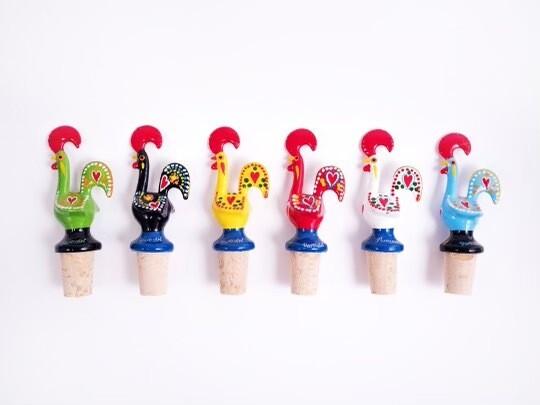 Portuguese Aluminum Decorative Figurine Rooster Wine Stopper