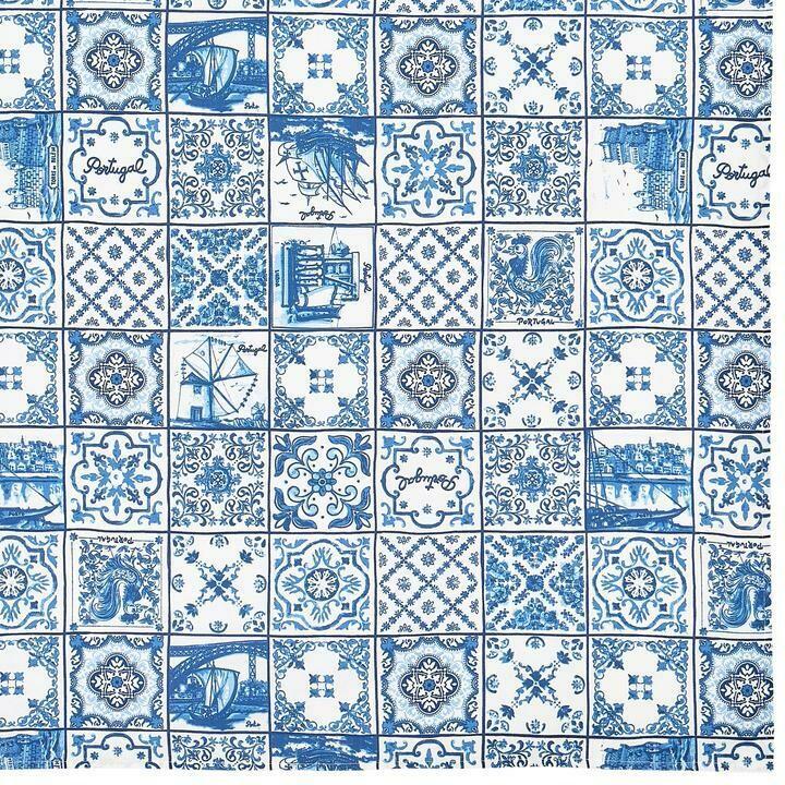 Blue Azulejo Tile Table Cloth (Ships Separate/Box)