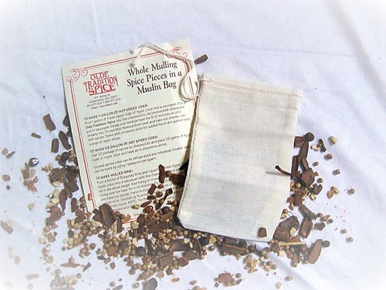 Whole Mulling Spice Pieces in a Bag (1 oz of spice pieces in a cloth bag / DOZEN / PACK) $1.75/bag